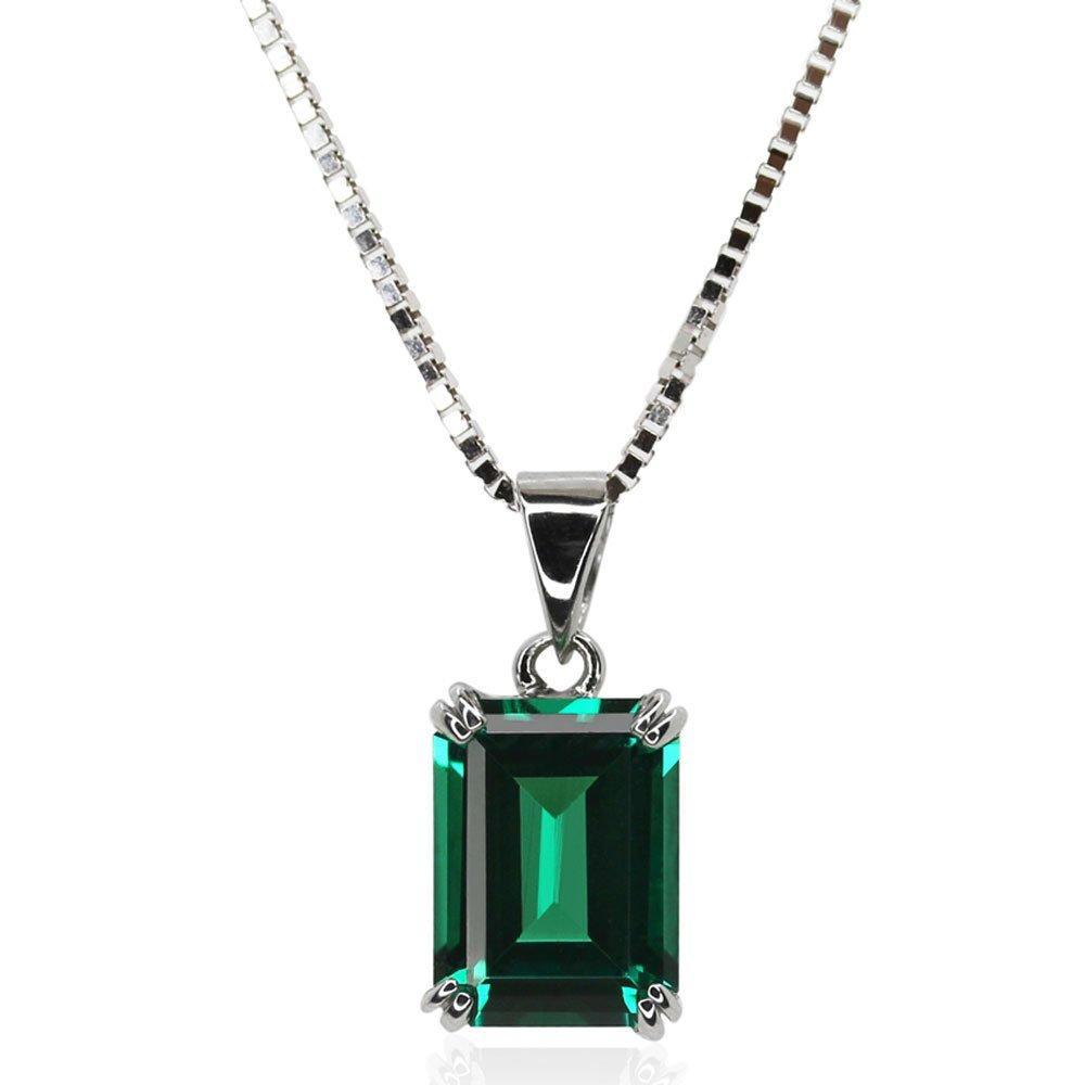 CARAT 9ct White Gold Emerald Cut Pendant