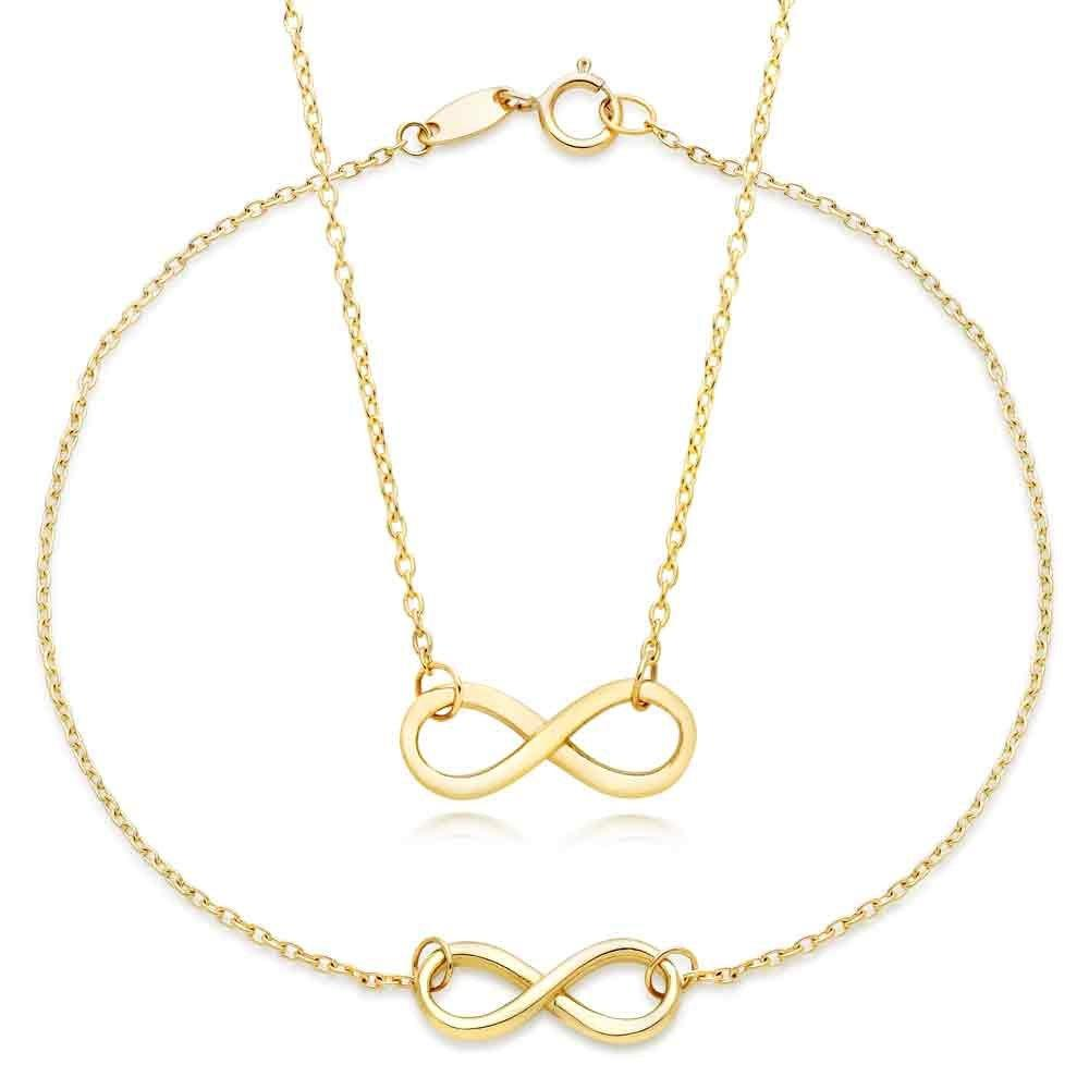 9ct Gold Infinity Necklace and Bracelet Set