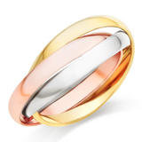 9ct Gold, Rose Gold and White Gold Ring