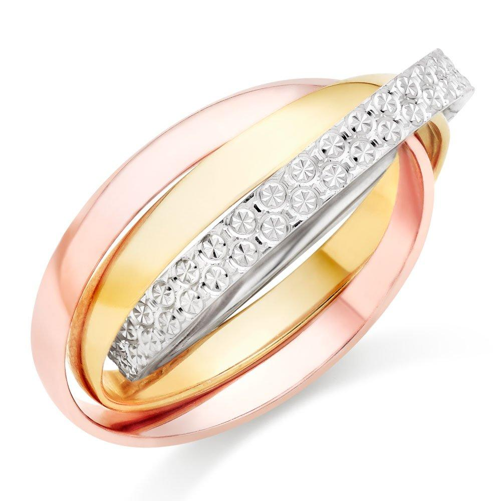 9ct Gold, Rose Gold and White Gold Sparkle Cut Ring