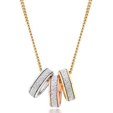 9ct Gold, Rose Gold and White Gold Glitter Pendant