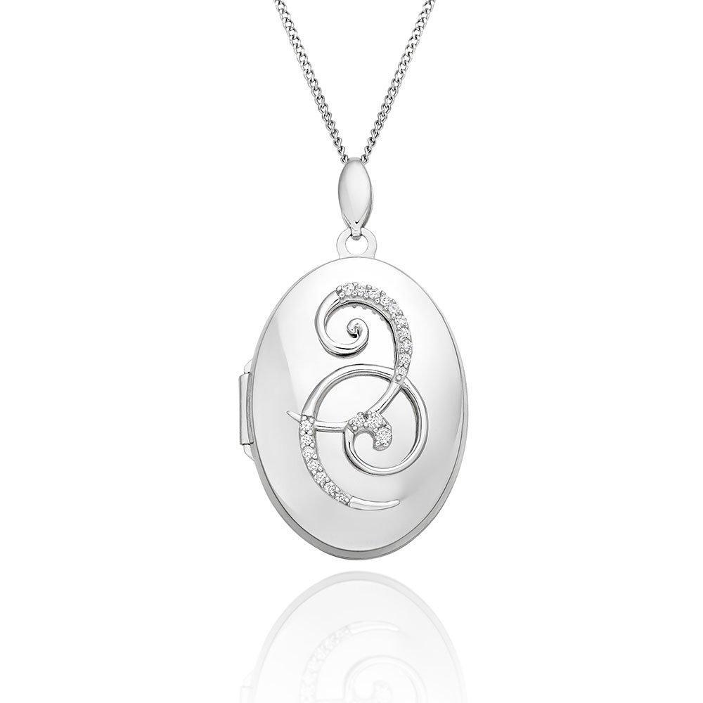 9ct White Gold Diamond Swirl Oval Locket