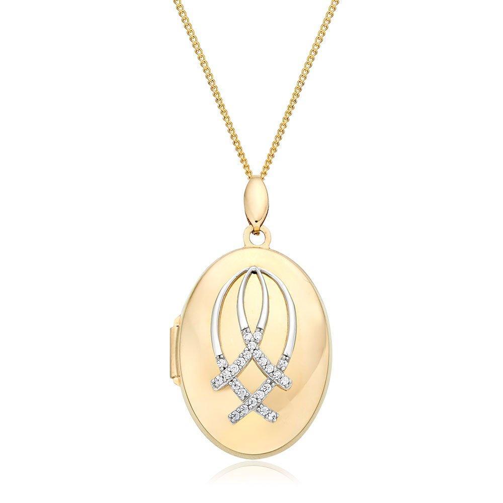 9ct Gold Diamond Oval Locket