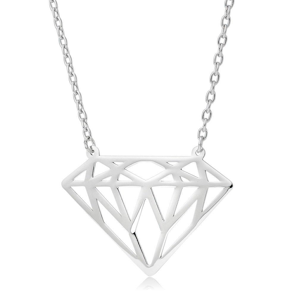 9ct White Gold Diamond-Shaped Necklace