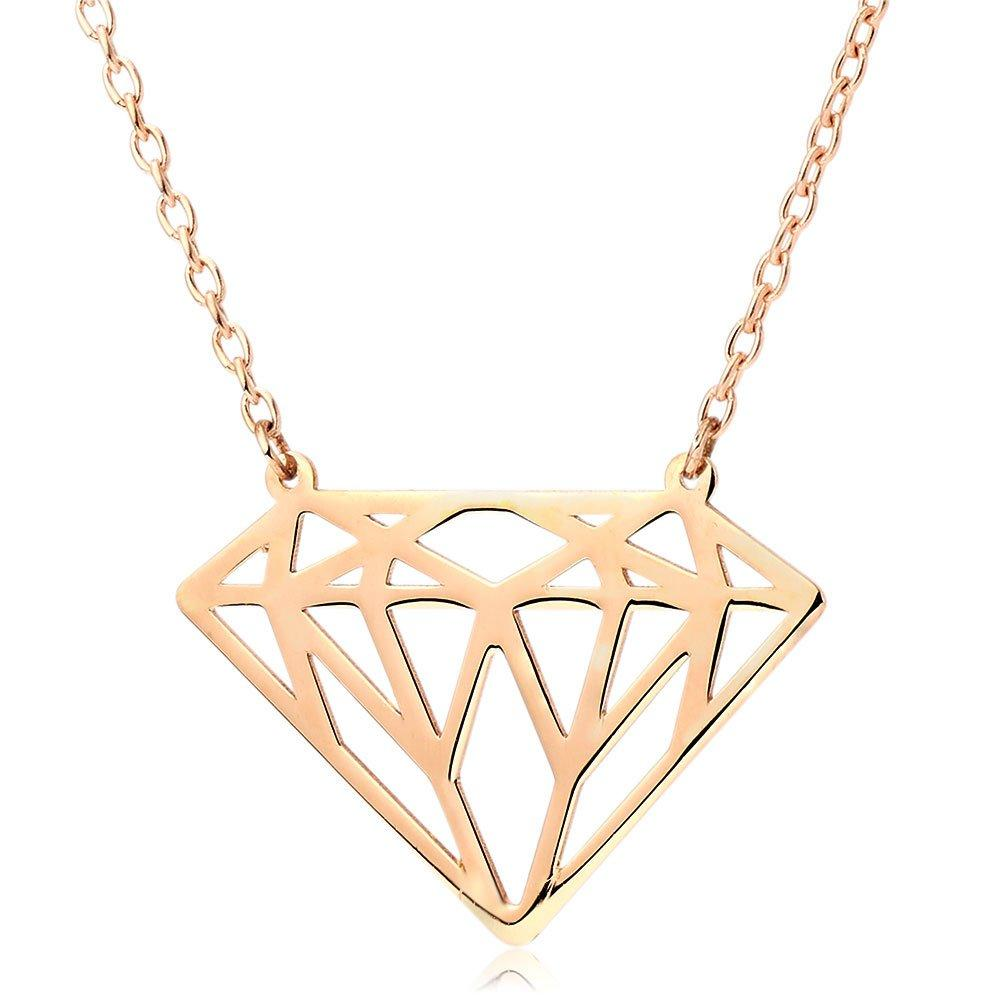 9ct Rose Gold Diamond-Shaped Necklace