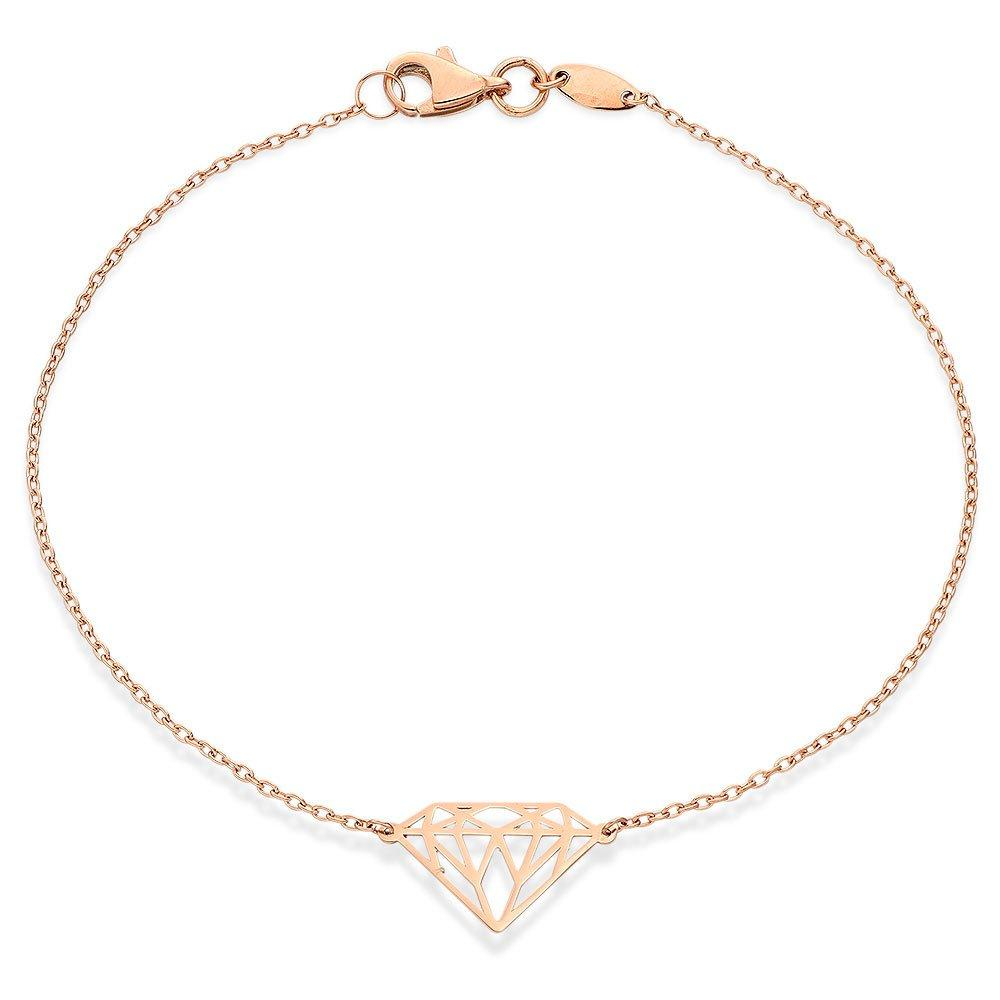 9ct Rose Gold Diamond-Shaped Bracelet
