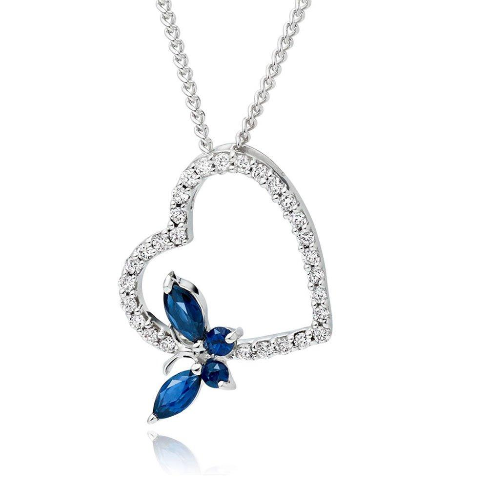 9ct White Gold Diamond and Sapphire Butterfly Heart Pendant