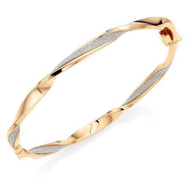 9ct Gold Glitter Twist Bangle