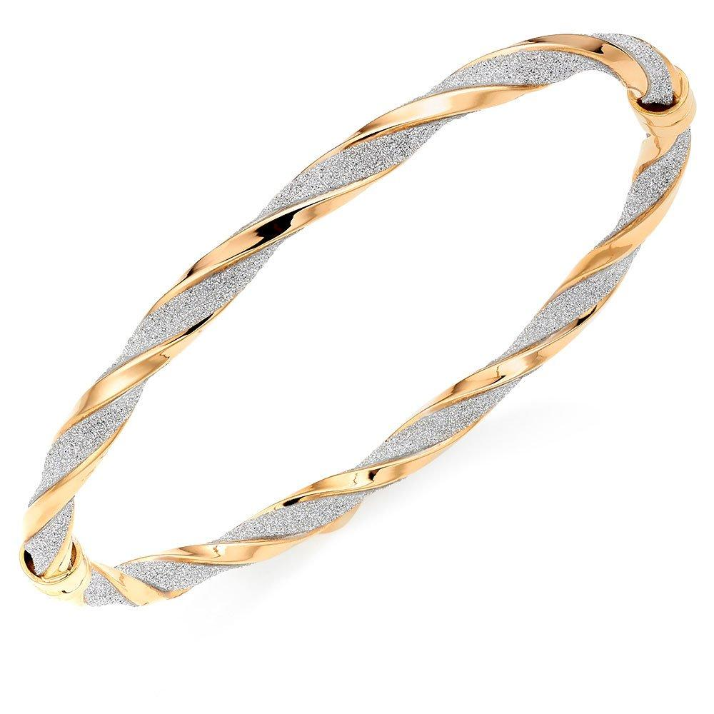 Glitter and Sparkle 9ct Gold Twist Bangle