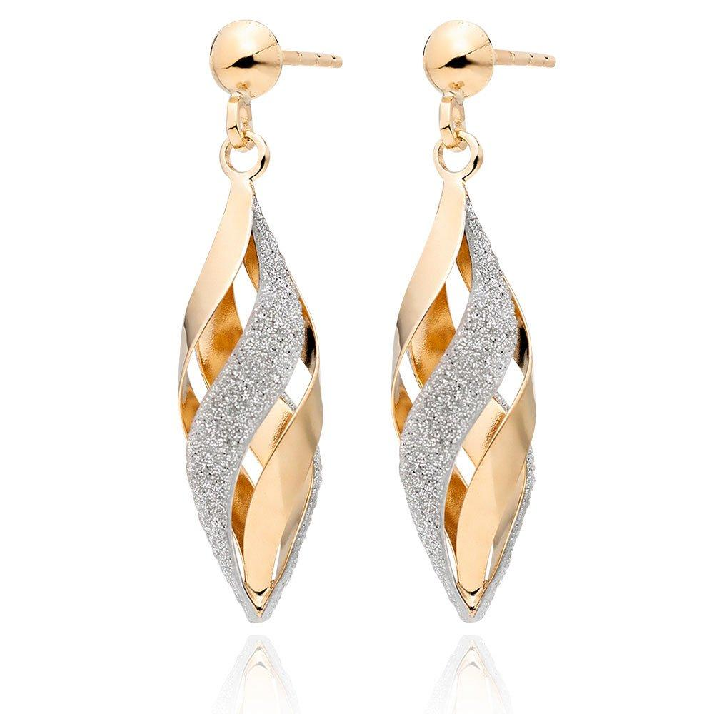 Glitter and Sparkle 9ct Gold Drop Earrings