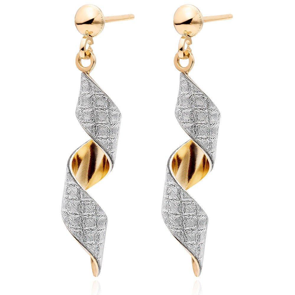 9ct Gold Glitter Swirl Drop Earrings