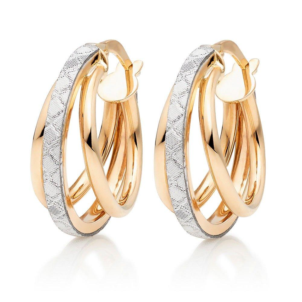 Glitter and Sparkle 9ct Gold Hoop Earrings