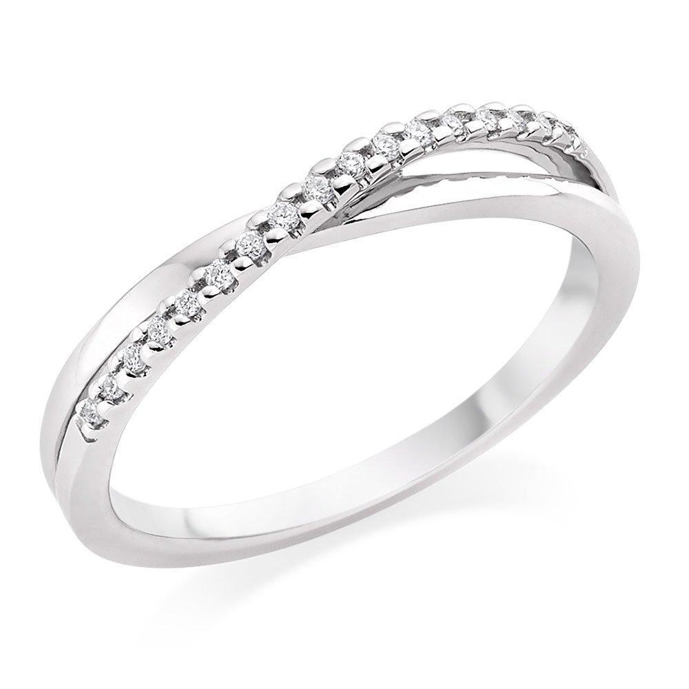 18ct White Gold Diamond Twist Eternity Ring