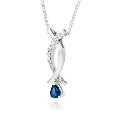 9ct White Gold Sapphire and Diamond Pendant