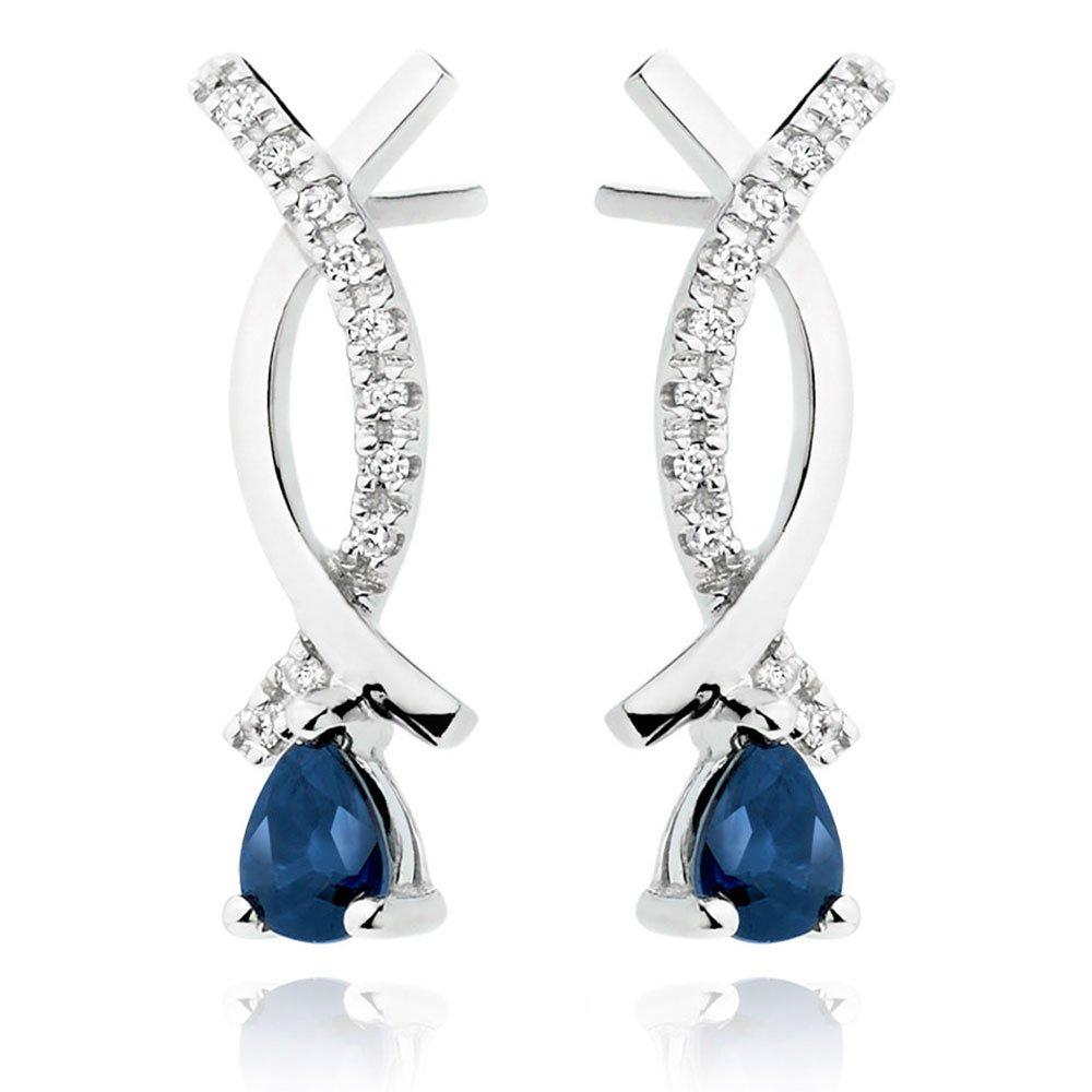 9ct White Gold Diamond Sapphire Drop Earrings
