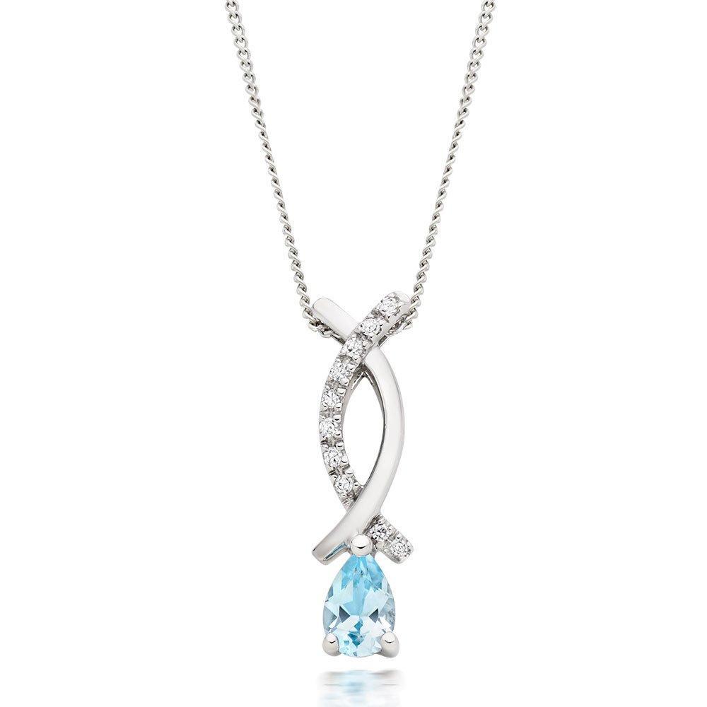 9ct White Gold Blue Topaz and Diamond Pendant