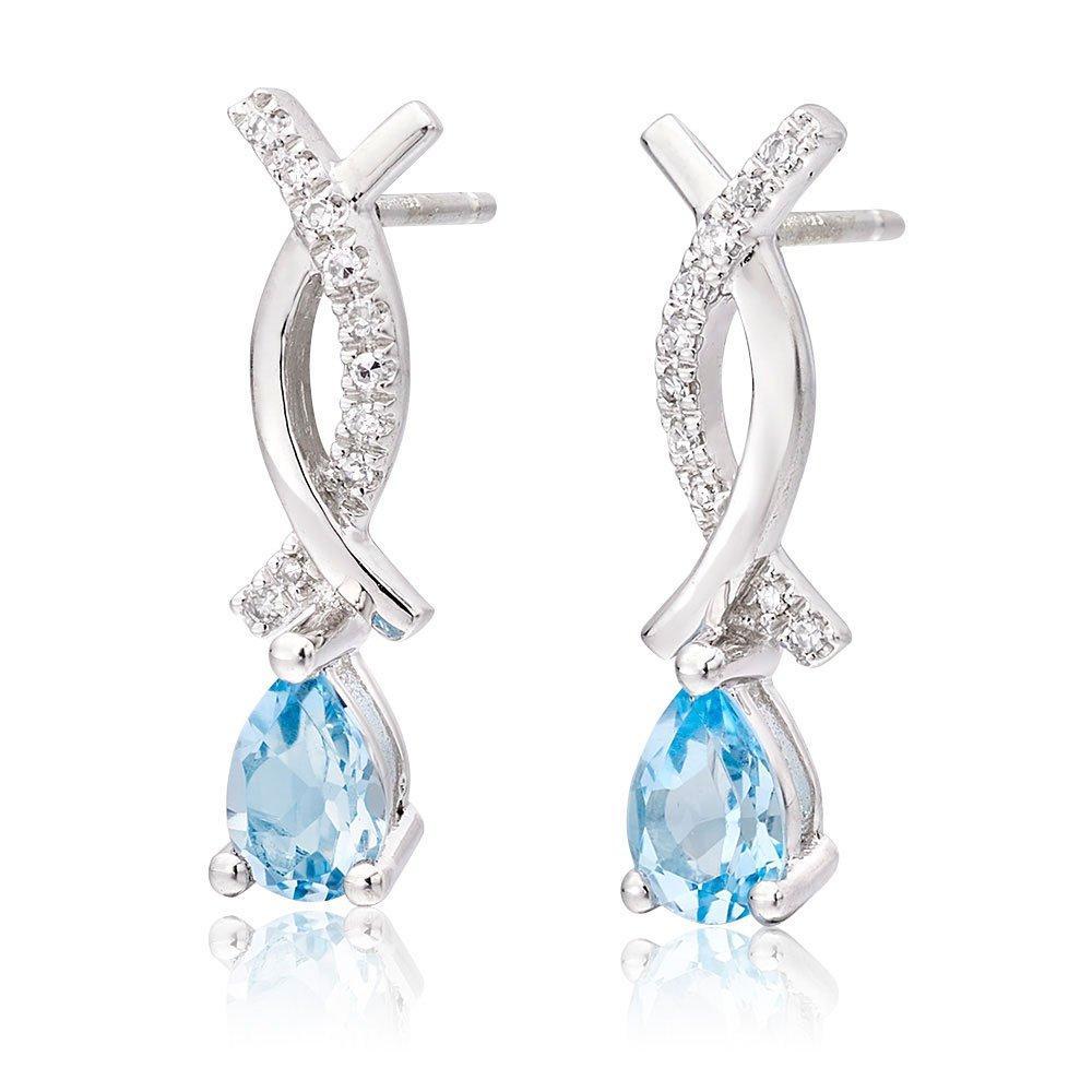 9ct White Gold Diamond Blue Topaz Earrings