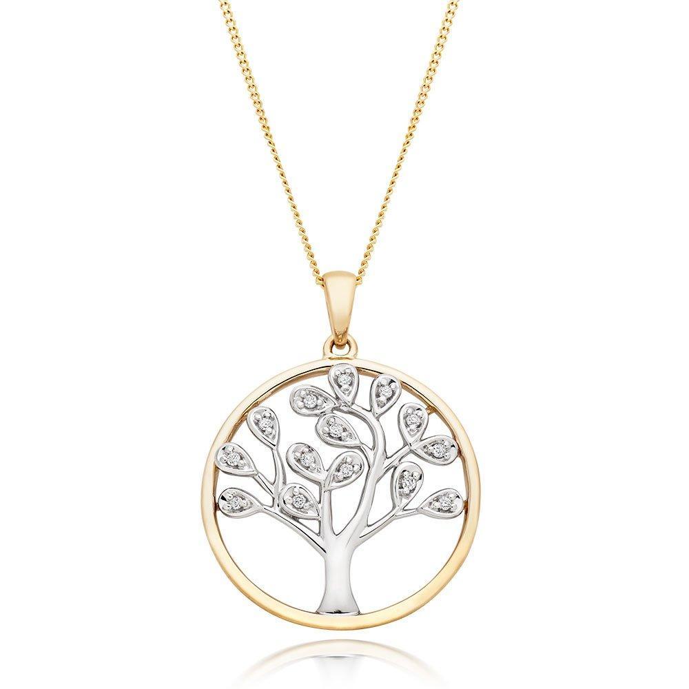 9ct Gold and White Gold Diamond Tree Pendant