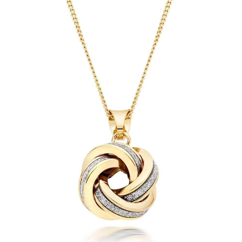 9ct Gold Glitter Knot Pendant
