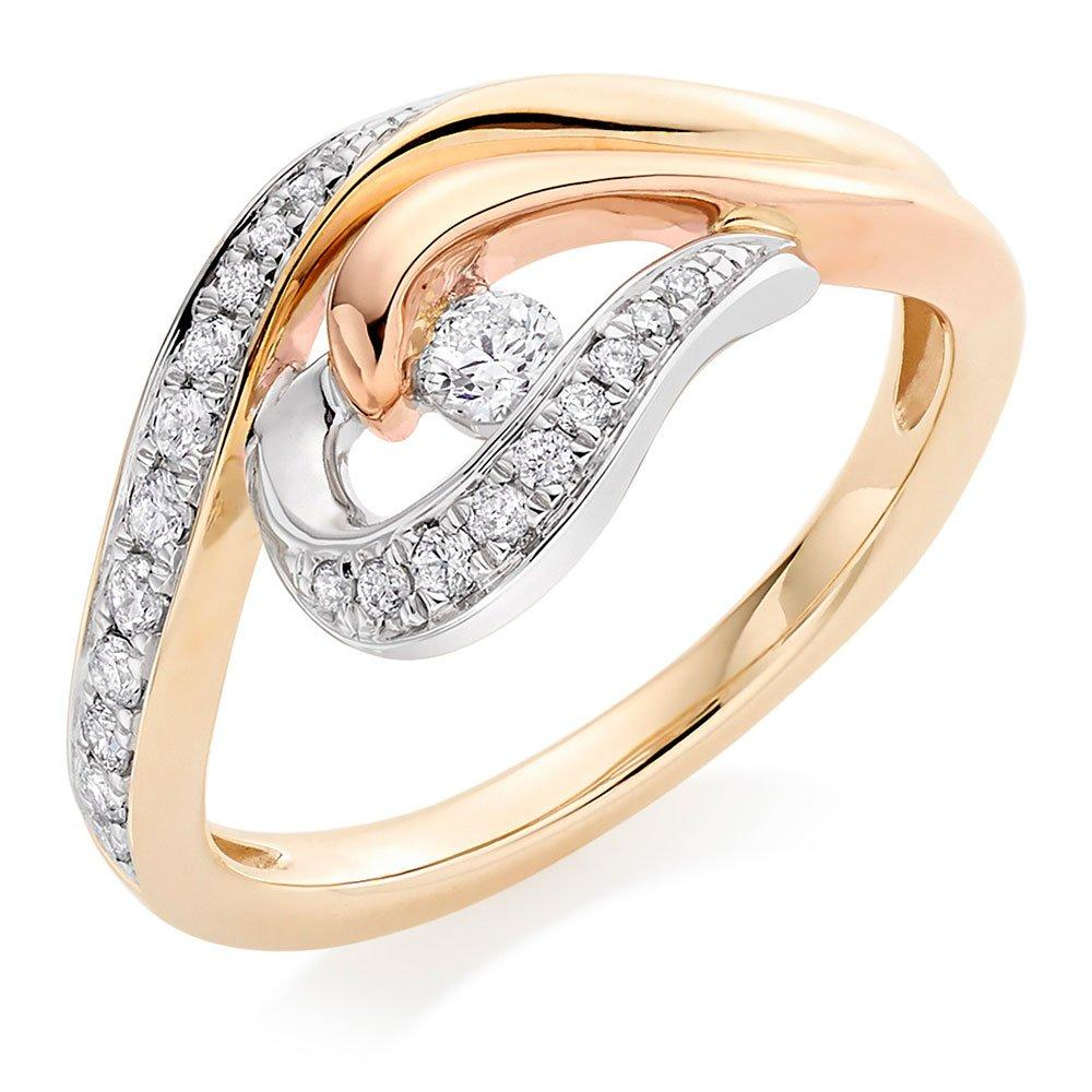 Era Enchant 9ct Gold, Rose Gold and White Gold Diamond Ring
