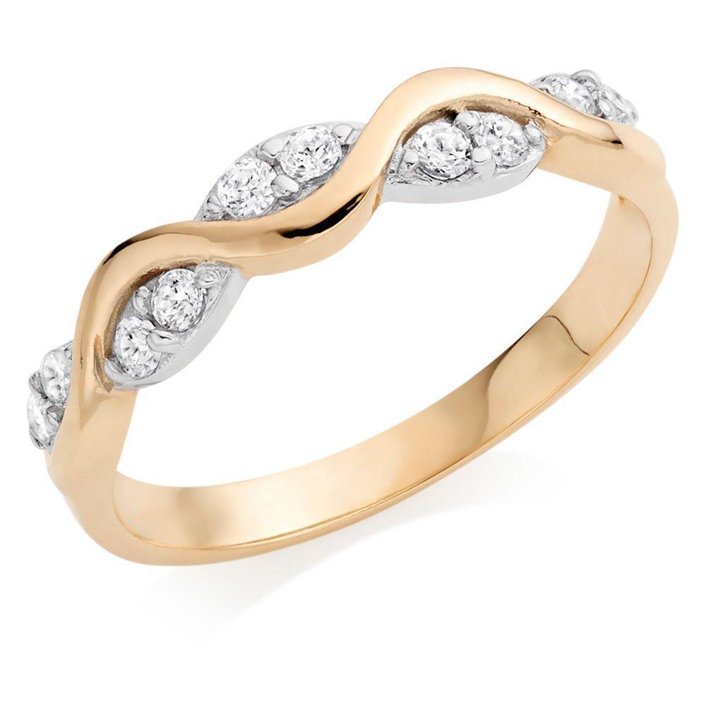 9ct Gold Cubic Zirconia Twist Ring