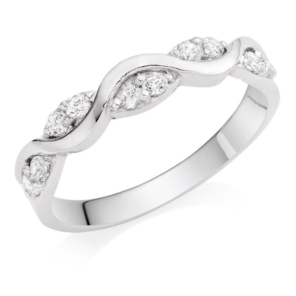 9ct White Gold Cubic Zirconia Twist Ring