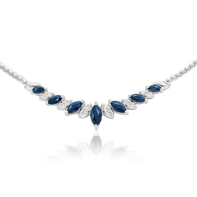 18ct White Gold Diamond Sapphire Collarette
