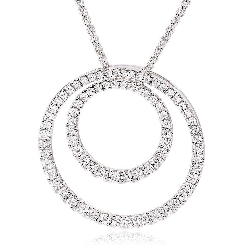 18ct White Gold Diamond Circle Pendant
