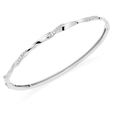 9ct White Gold Diamond Twist Bangle