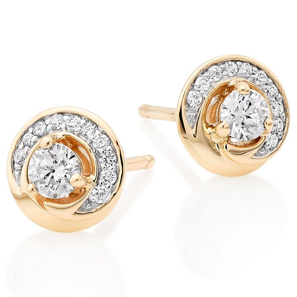 9ct Gold Diamond Swirl Stud Earrings