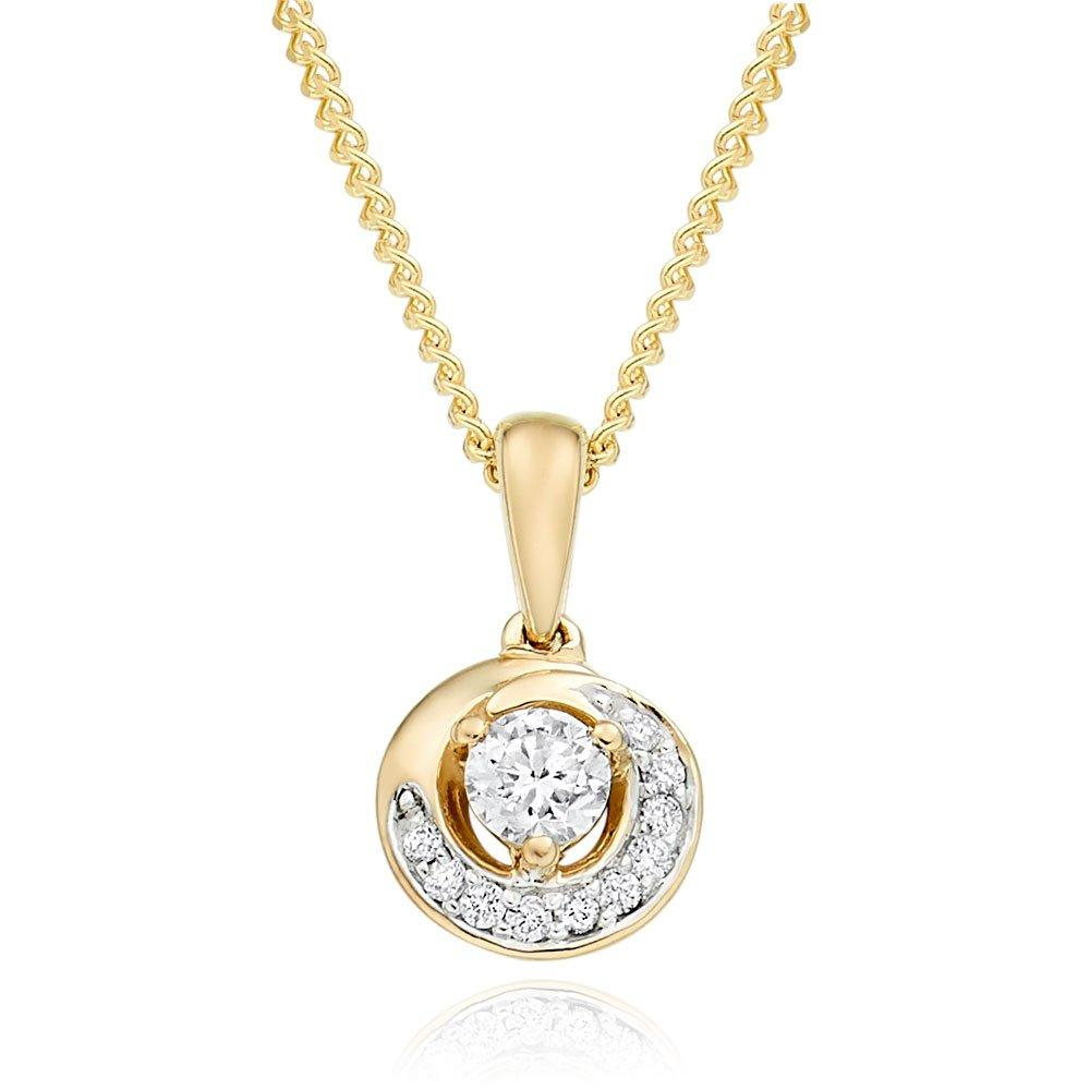 9ct Gold Diamond Swirl Pendant