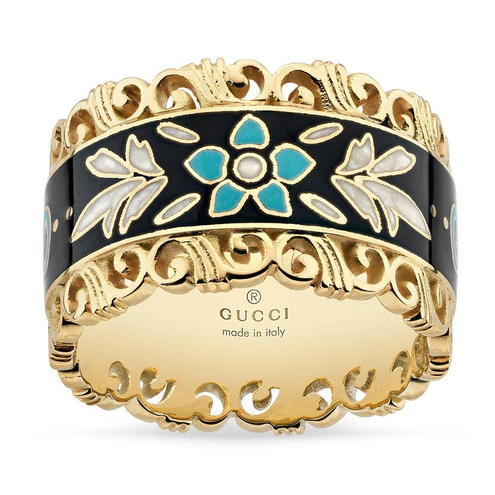 Gucci Icon Blooms 18ct Gold and Enamel Ring