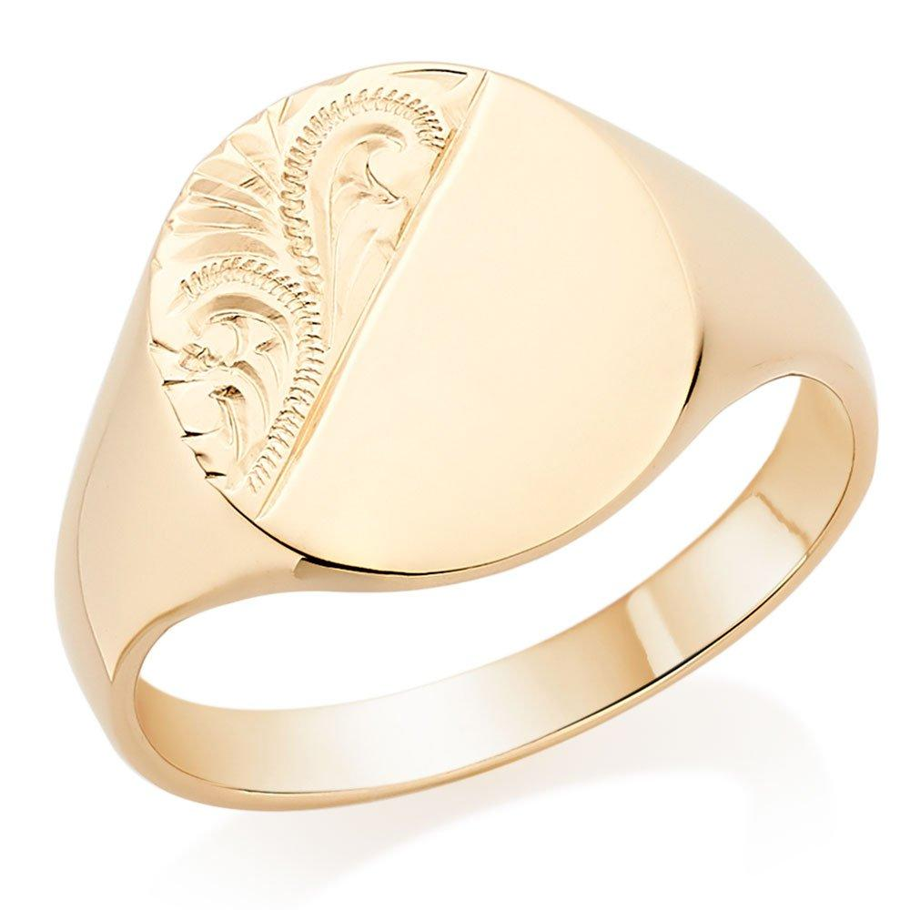 9ct Gold Oval Pattern Signet Ring