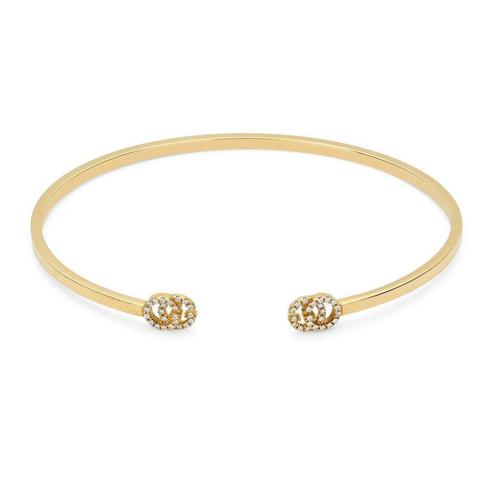 Gucci Double G 18ct Gold Diamond Bangle