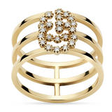 Gucci Double G 18ct Gold Diamond Ring