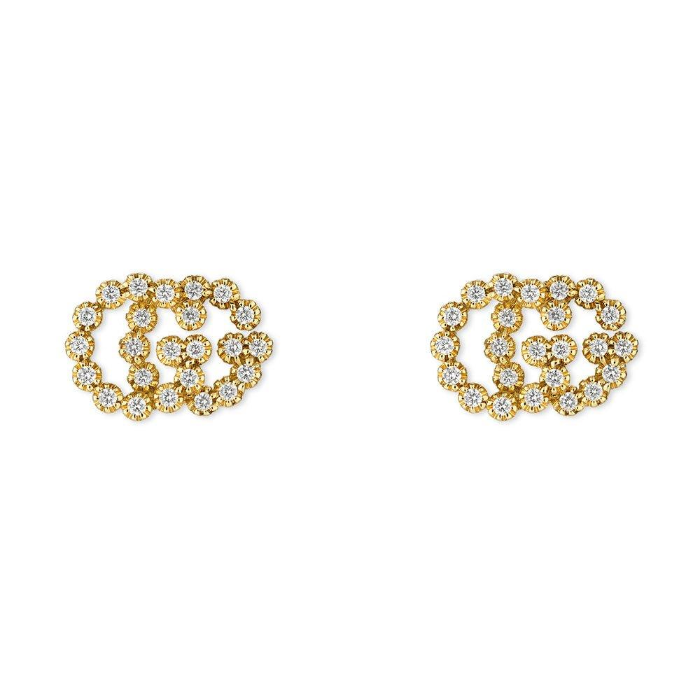 Gucci Double G 18ct Gold Diamond Stud Earrings