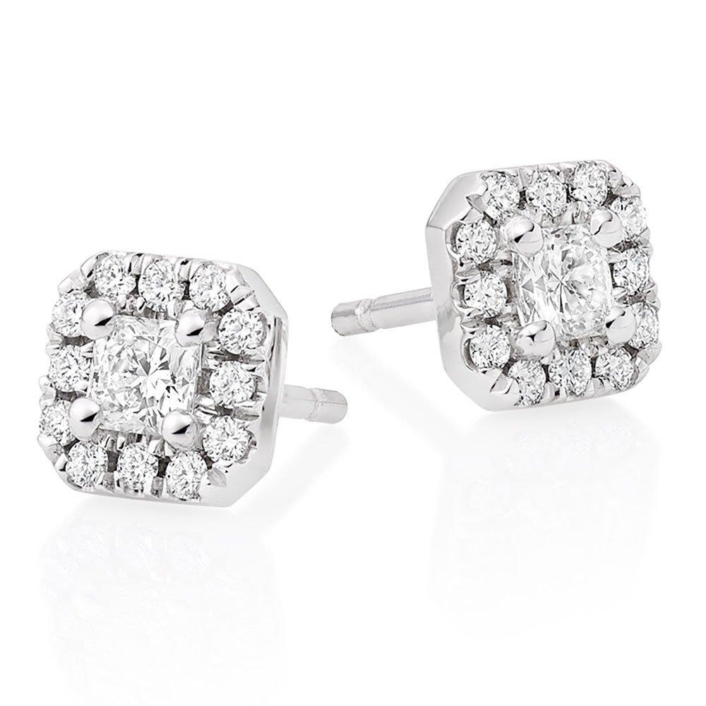 Hearts On Fire 18ct White Gold Diamond Princess Cut Halo Earrings