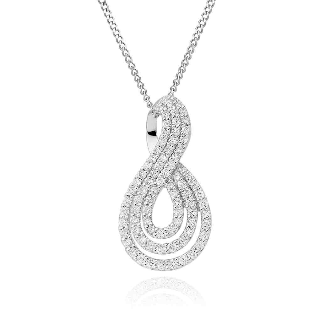 9ct White Gold Diamond Infinity Pendant