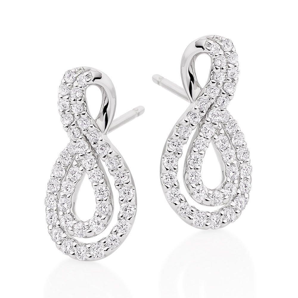 9ct White Gold Diamond Infinity Earrings