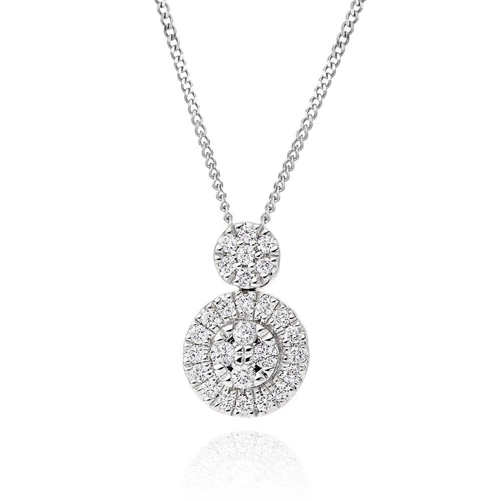 9ct White Gold Diamond Cluster Pendant
