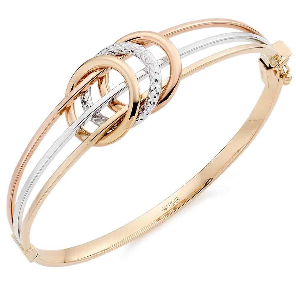 9ct Gold, Rose Gold and White Gold Sparkle Bangle