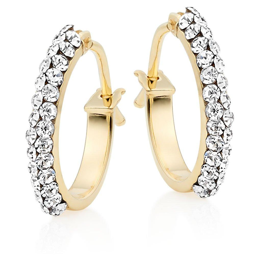 9ct Gold Crystal Hoop Earrings