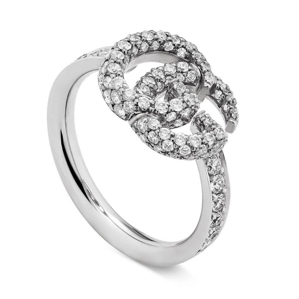 Gucci 18ct White Gold Running G Diamond Ring