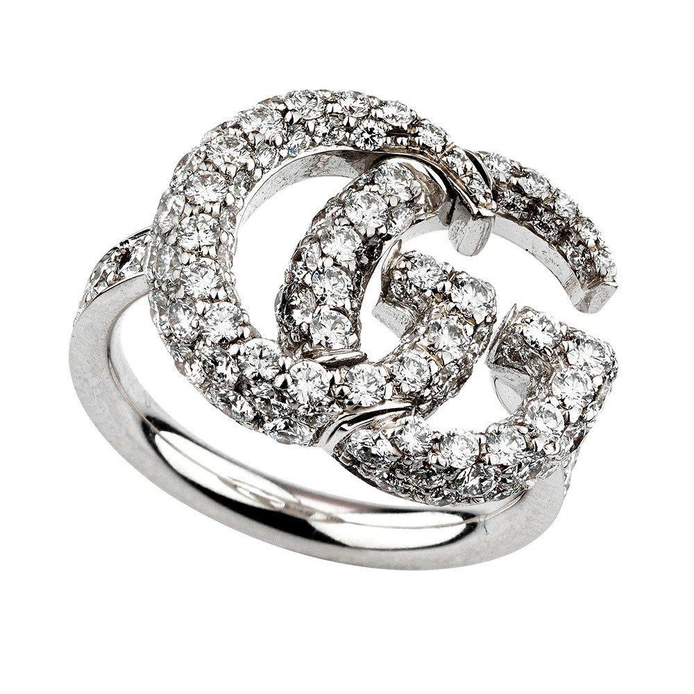 Gucci Running G 18ct White Gold Diamond Ladies Ring