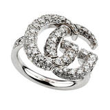 Gucci Running G 18ct White Gold Diamond Ladies Ring