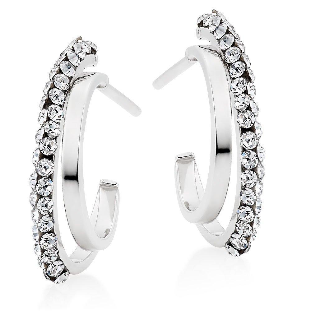 9ct White Gold Crystal Split Hoop Earrings