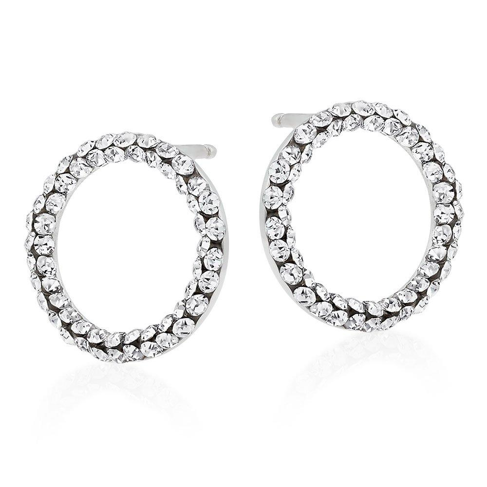 9ct White Gold Crystal Circle Stud Earrings