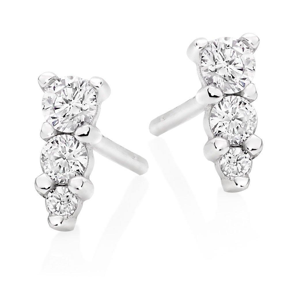 9ct White Gold Diamond Three Stone Earrings