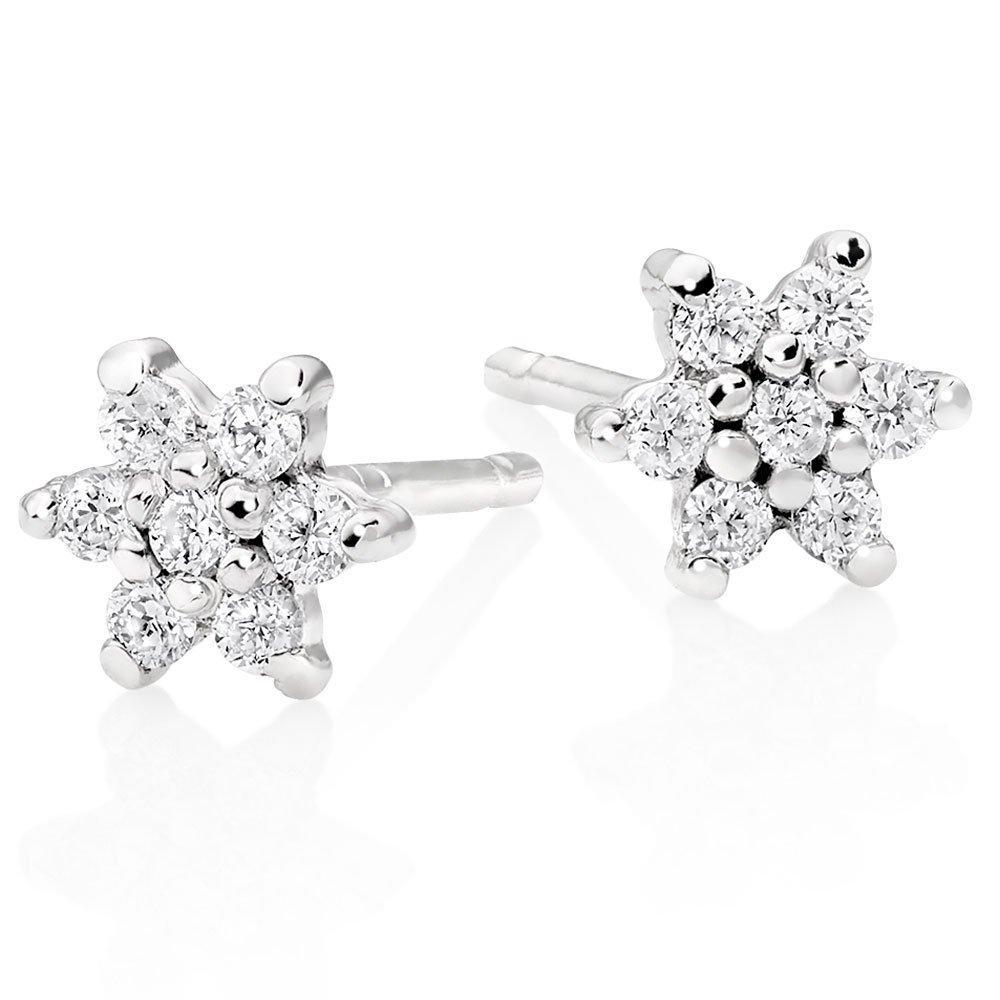 9ct White Gold Diamond Flower Earrings