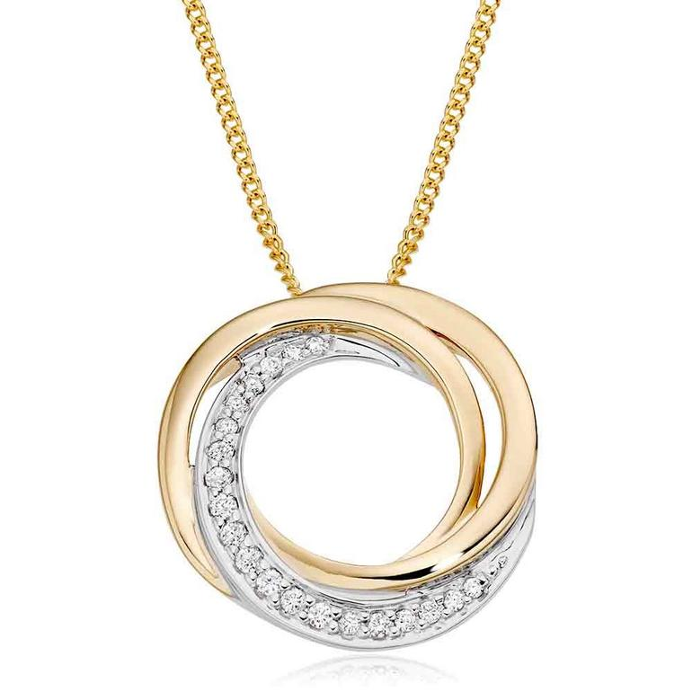 9ct Gold Diamond Swirl Pendant